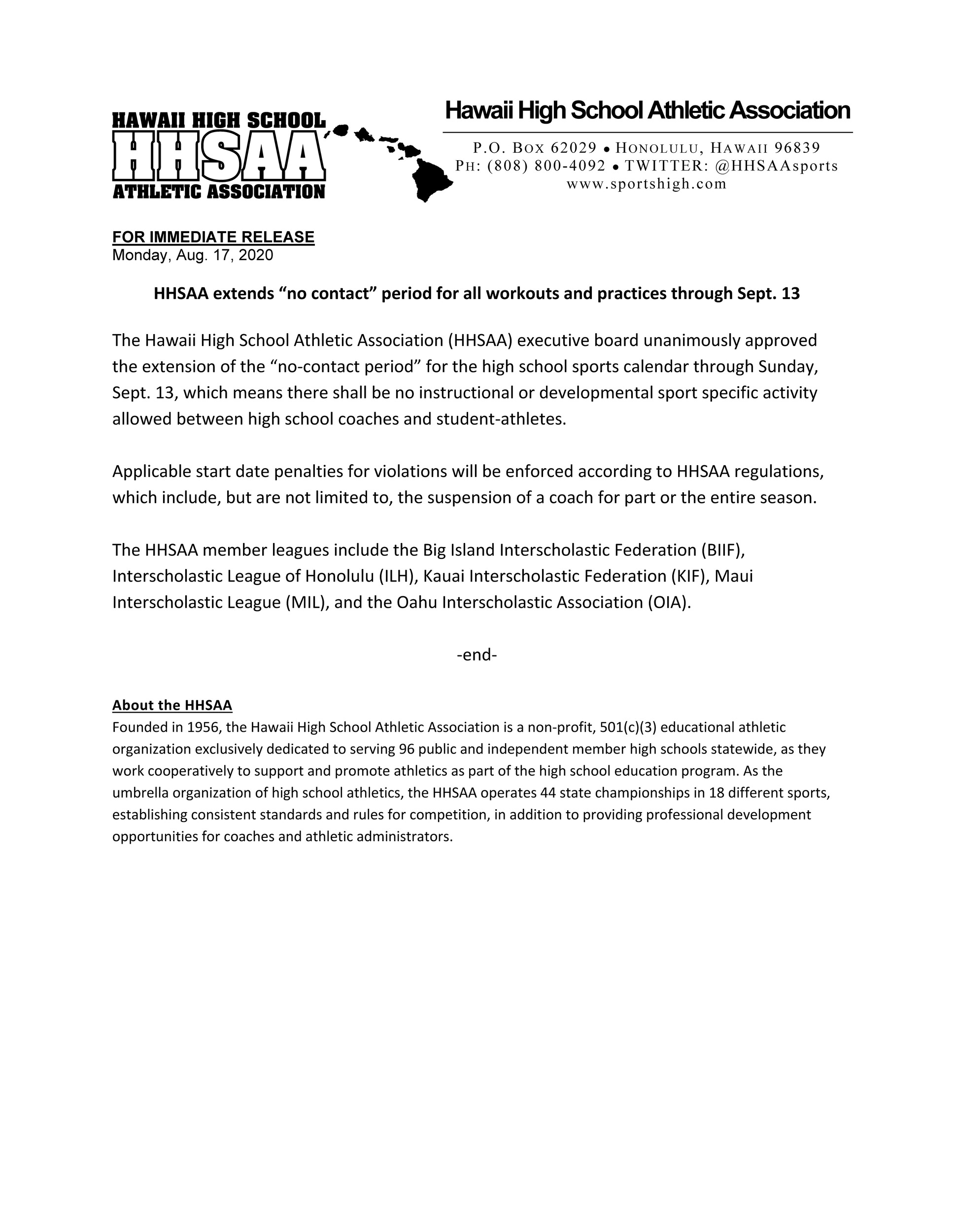 2020-08-17-press-release-hhsaa-extends-no-contact-dead-period-through-sept-13